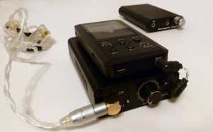 Tube Amp TA-1 Solid State Portable Amp under Fiio X3 connected to the Thousand Sound TS842 via the Whiplash TWag V2 gold